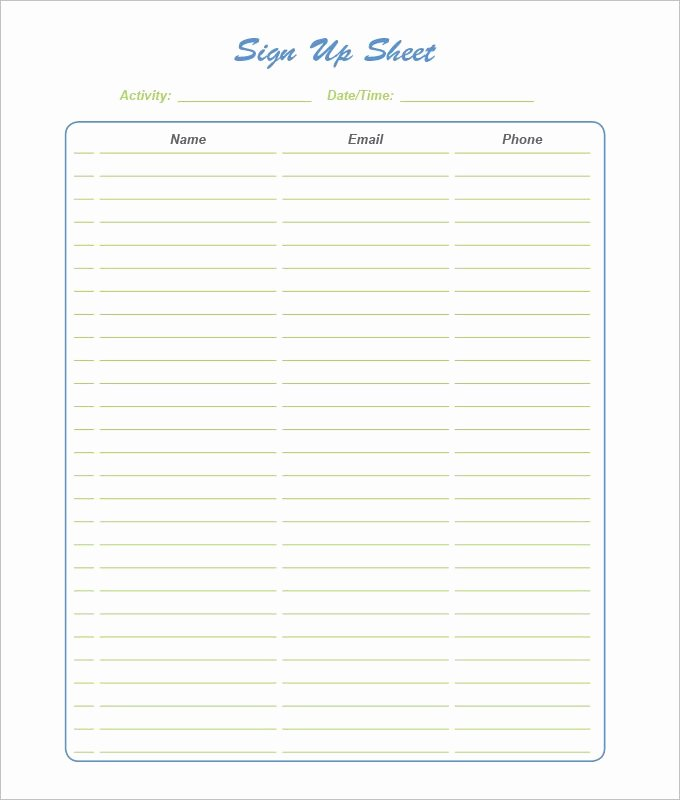 Sign Up Template Free Lovely 21 Sign Up Sheet Templates Free Word Excel & Pdf