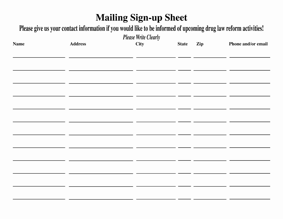 Sign Up Template Free Luxury Blank Sign Up Sheet Printable