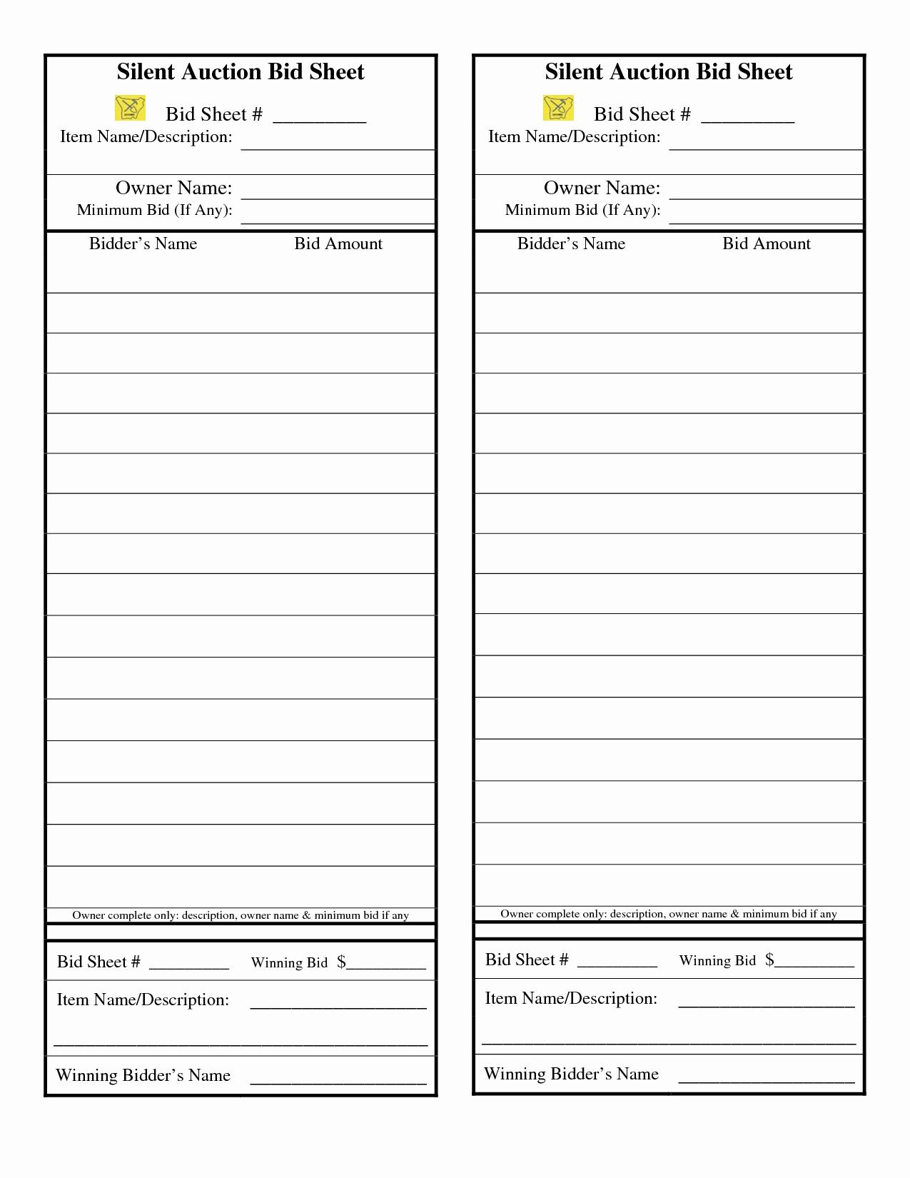 Silent Auction Bid Sheet Template Beautiful Template for Silent Auction Bid Sheet