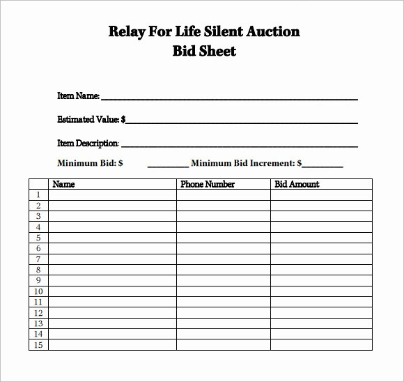 Silent Auction Bid Sheet Template Best Of Sample Silent Auction Bid Sheet – 6 Example format
