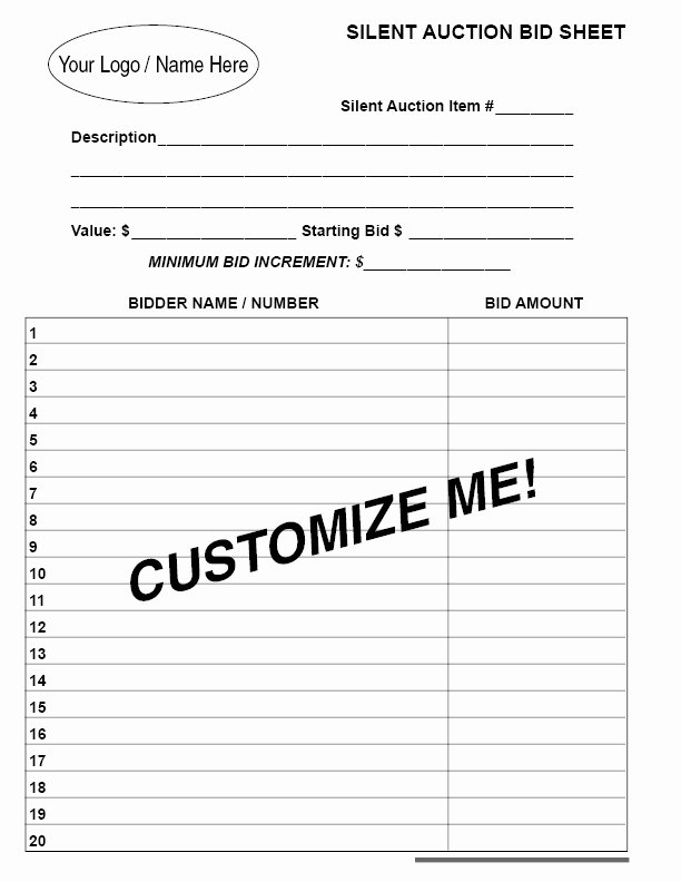 Silent Auction Bid Sheet Template Best Of Triplicate Customizable Silent Auction Bid Sheet From Our