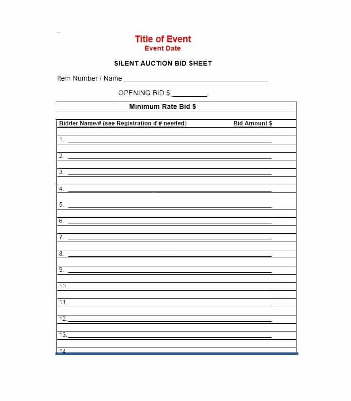 Silent Auction Bid Sheet Template Elegant 40 Silent Auction Bid Sheet Templates [word Excel]
