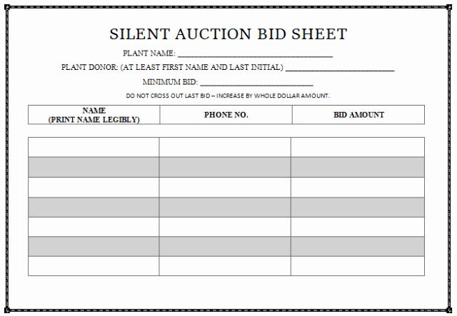 Silent Auction Bid Sheet Template Inspirational 30 Silent Auction Bid Sheet Templates [word Excel Pdf]