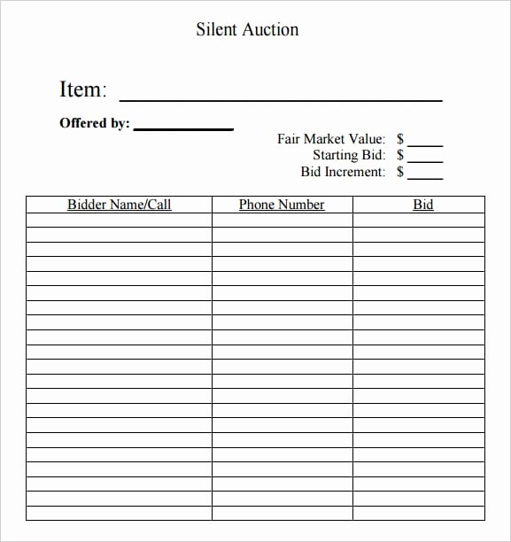 Silent Auction Bid Sheet Template Lovely 6 Silent Auction Bid Sheet Templates Free Sample Templates
