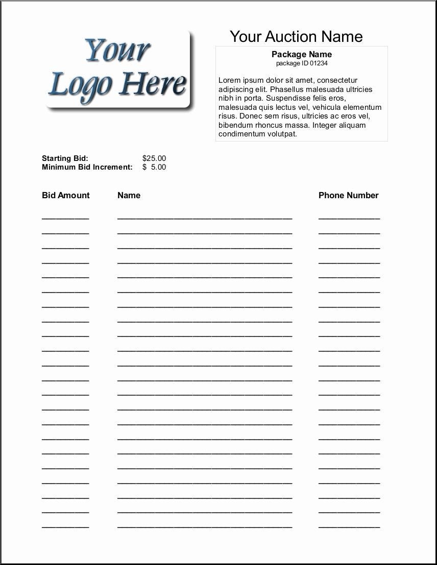 Silent Auction Bid Sheet Template Luxury 16 Silent Auction Bid Sheet Templates Free Sample Templates