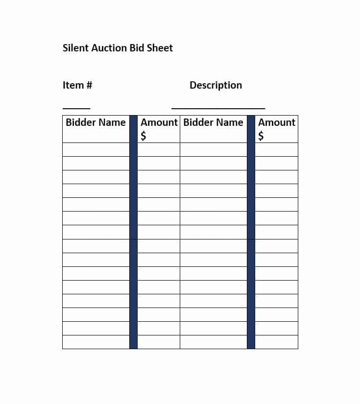 Silent Auction Bid Sheet Template Luxury Silent Auction Bid Sheet Template Free Word Printable
