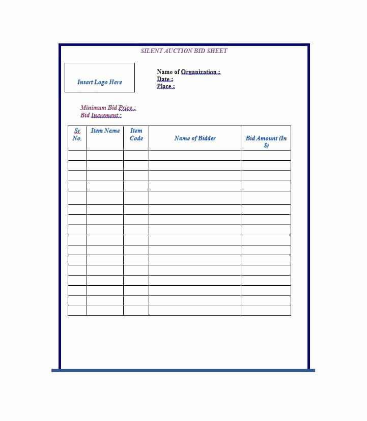 Silent Auction Bid Sheet Template New 40 Silent Auction Bid Sheet Templates [word Excel]