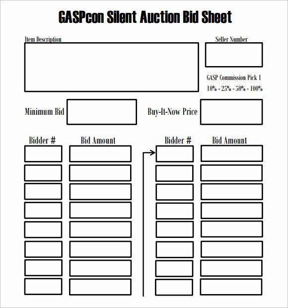 Silent Auction Item Description Template Best Of Silent Auction Bid Sheet Template – 9 Free Samples
