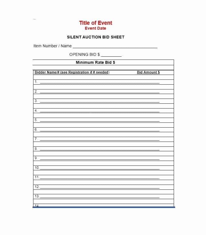 Silent Auction Item Description Template Lovely Free Silent Auction Bid Sheet Templates Word Excel