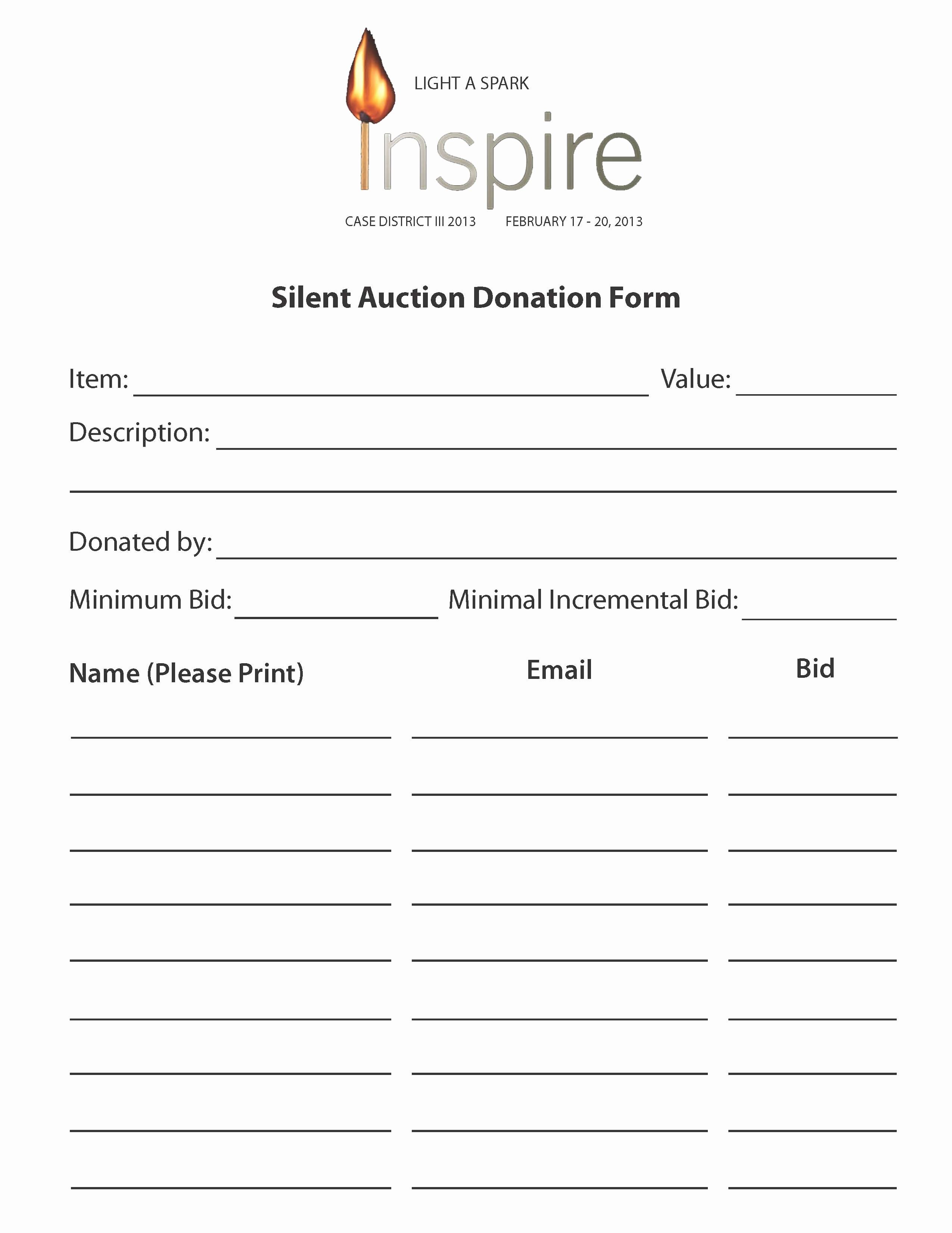 Silent Auction Item Description Template Luxury Case Silent Auction Donation forms