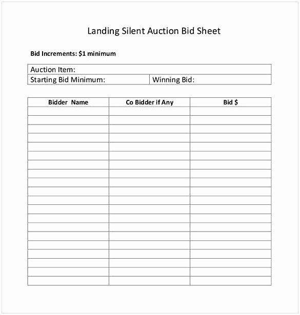 Silent Auction Item Description Template New Silent Auction Bid Sheet