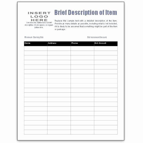 Silent Auction Sheet Template Awesome Free Bid Sheet Template Collection Downloads for Ms Publisher