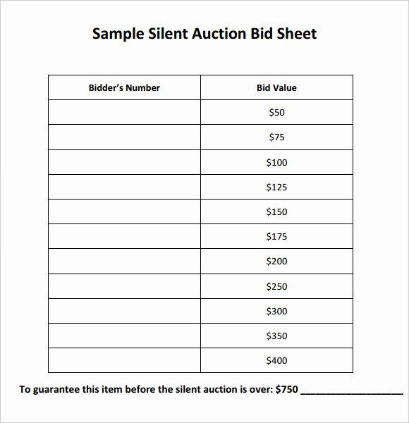 Silent Auction Sheet Template Awesome Silent Auction Bid Template