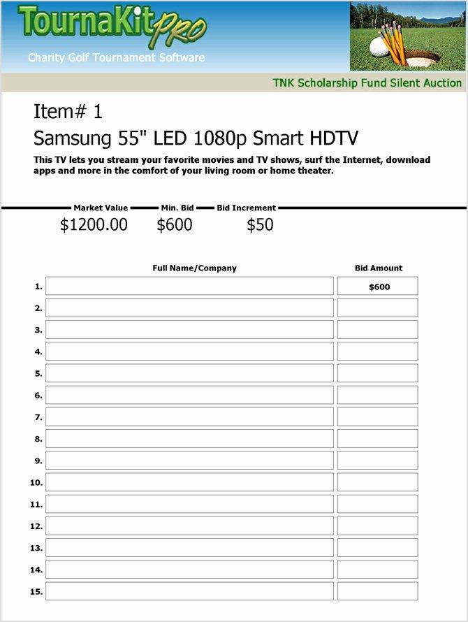 Silent Auction Sheet Template Fresh Charity Auction forms 108 Silent Auction Bid