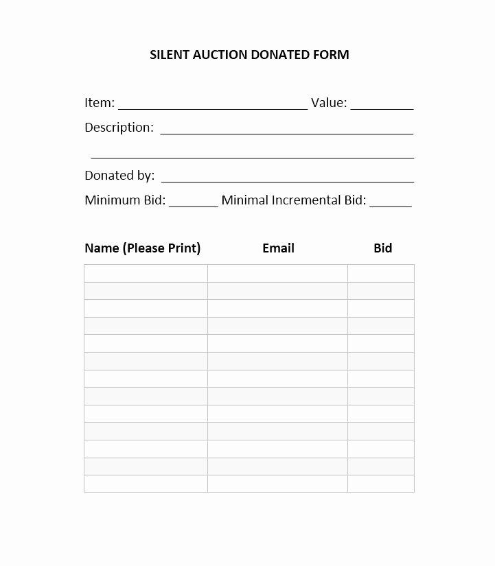 Silent Auction Sheet Template Inspirational 40 Silent Auction Bid Sheet Templates [word Excel]