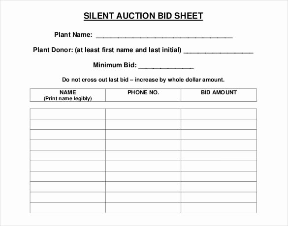 Silent Auction Sheet Template Inspirational 5 Auction Bid Sheets Templates formats Examples In Word
