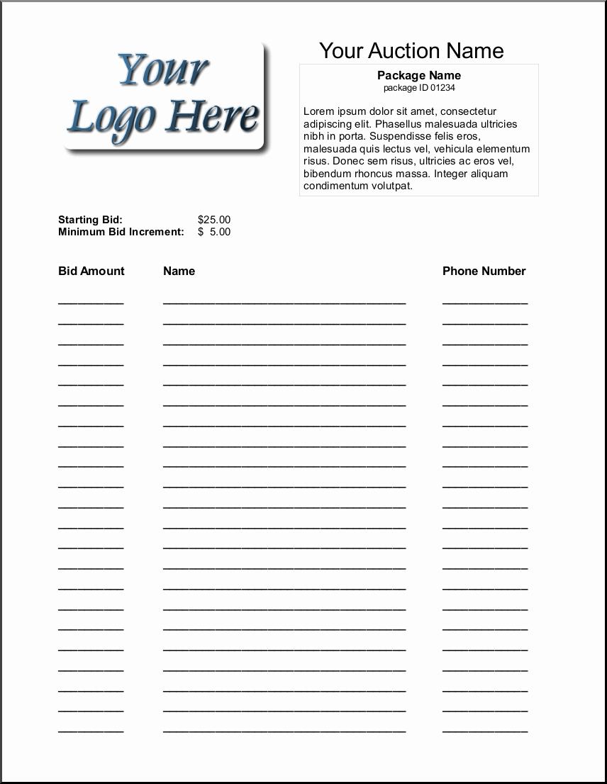 Silent Auction Sheet Template Lovely Bid Sheets