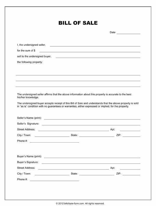 Simple Bill Of Sale Template Awesome Blank Bill Sale form