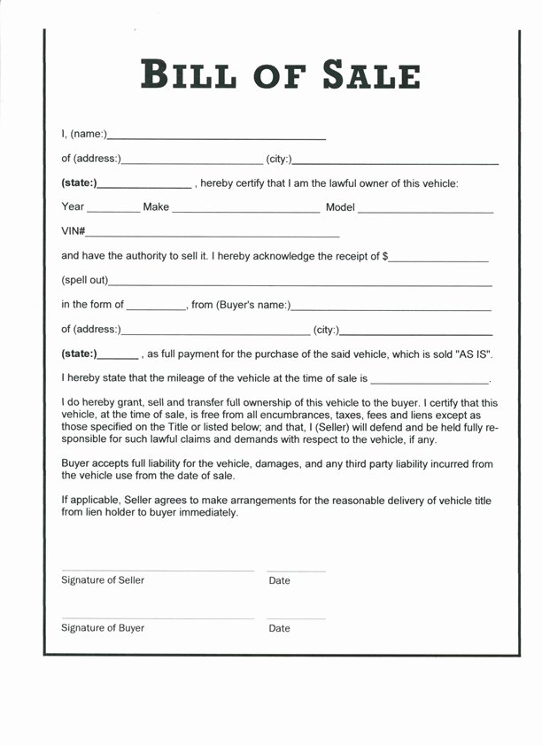 Simple Bill Of Sale Template Inspirational Free Printable Motorcycle Bill Of Sale form Generic