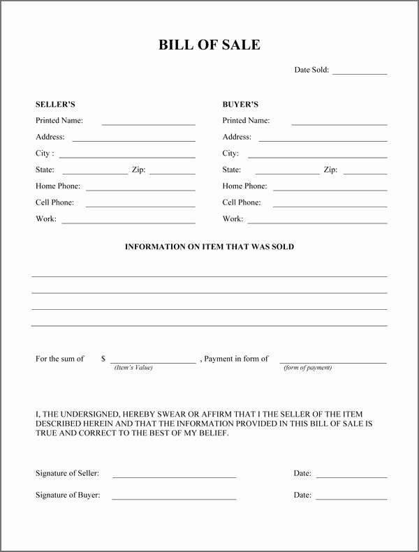 Simple Bill Of Sale Template Lovely Free Printable Rv Bill Of Sale form form Generic