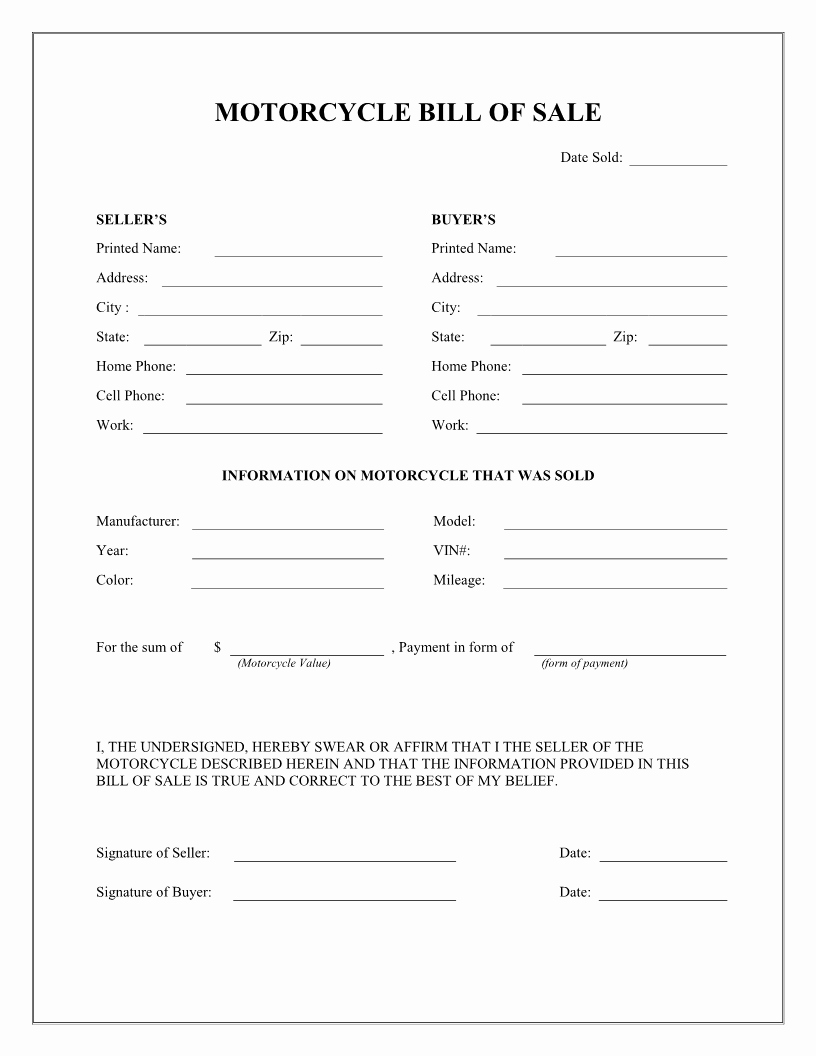 Simple Bill Of Sale Template New Free Motorcycle Bill Of Sale form Download Pdf