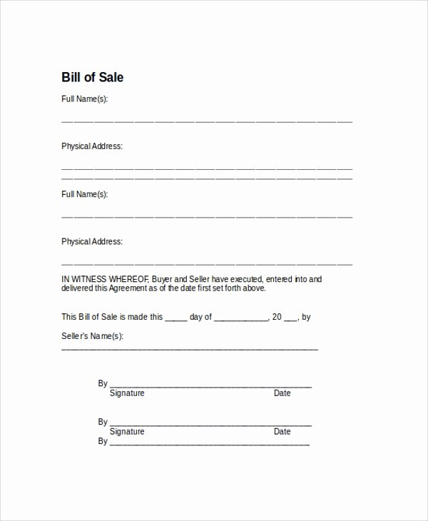 Simple Bill Of Sale Template New Sample Bill Of Sale form 9 Examples In Pdf Word