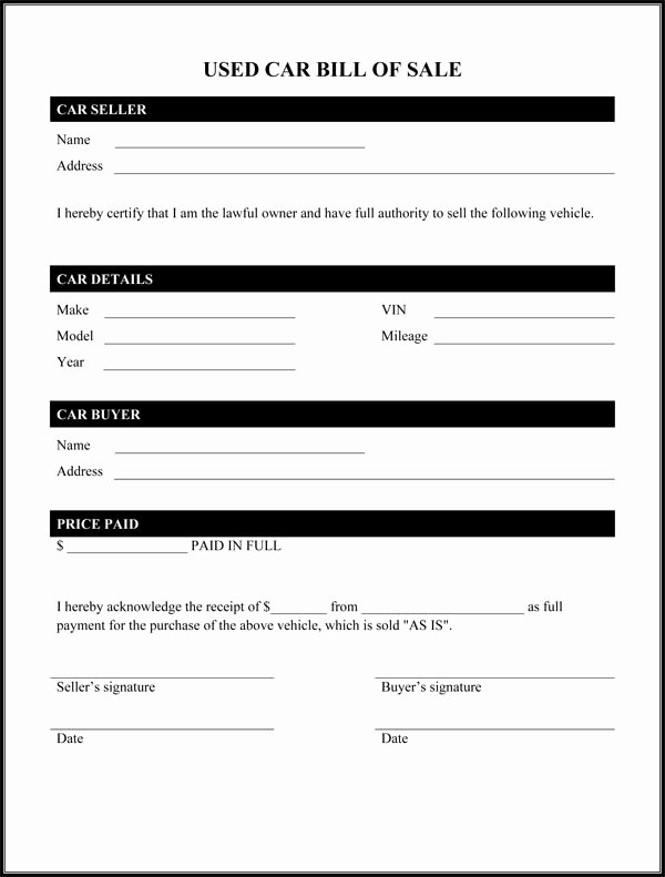 Simple Bill Of Sale Template Unique Bill Of Sale form Template