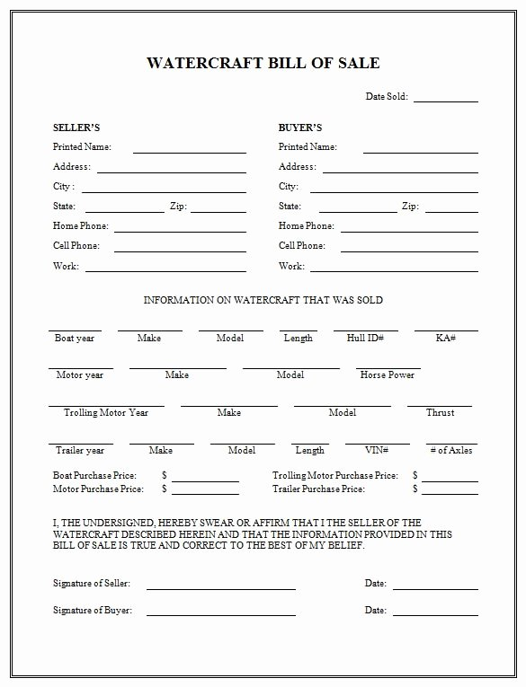 Simple Bill Of Sale Template Unique Free Printable Boat Bill Sale form Generic