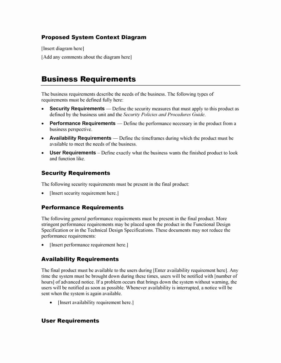 Simple Business Requirements Document Template Beautiful 40 Simple Business Requirements Document Templates