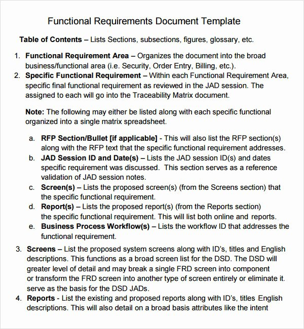 Simple Business Requirements Document Template Beautiful Sample Business Requirements Document 6 Free Documents