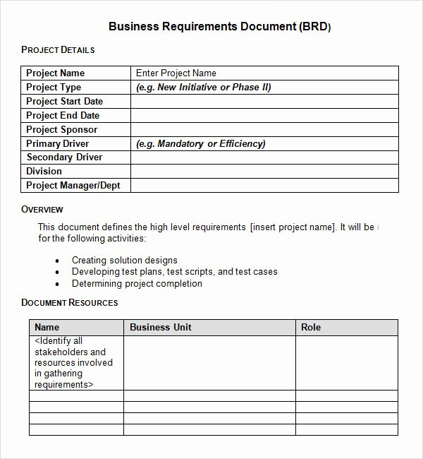Simple Business Requirements Document Template Elegant Sample Business Requirements Document 6 Free Documents