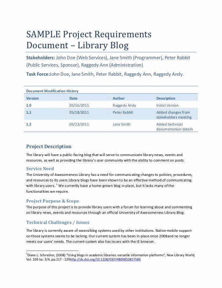 Simple Business Requirements Document Template Fresh Sample Project Requirements Document – Library Blog