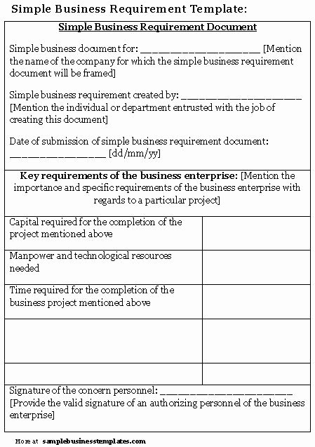 Simple Business Requirements Document Template Luxury Simple Business Requirement Document Template