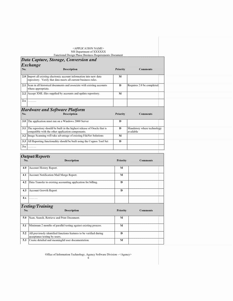 Simple Business Requirements Document Template Unique 40 Simple Business Requirements Document Templates