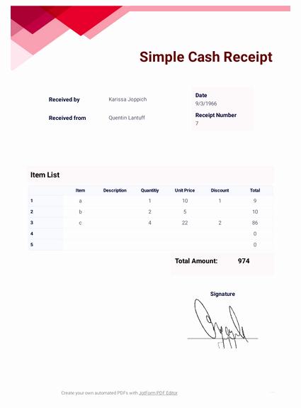Simple Cash Receipt Template Beautiful Simple Cash Receipt Template Pdf Templates