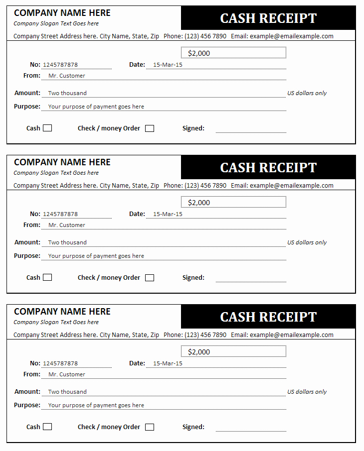Simple Cash Receipt Template New Cash Receipt and Invoice Templates