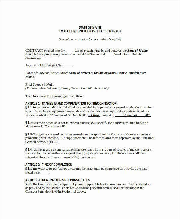 Simple Construction Contract Template Free Beautiful Construction Contract Pdf