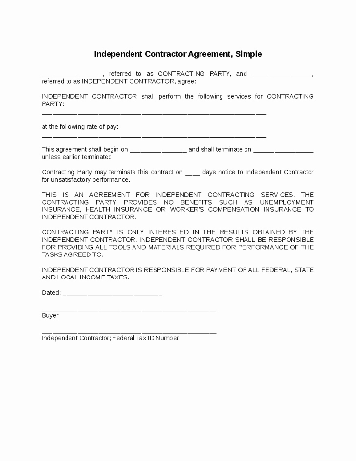 Simple Construction Contract Template Free Beautiful Independent Contractor Agreement Simple