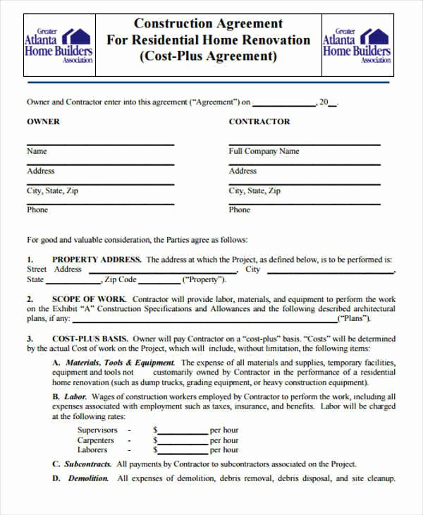 Simple Construction Contract Template Free Beautiful Residential Construction Contract