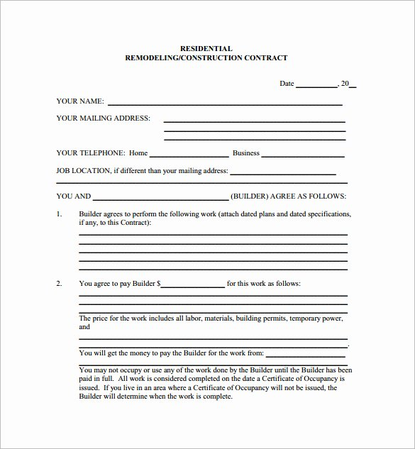 Simple Construction Contract Template Free Elegant Residential Construction Contract