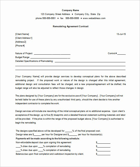 Simple Construction Contract Template Free Luxury Construction Remodeling Contract – Emmamcintyrephotography