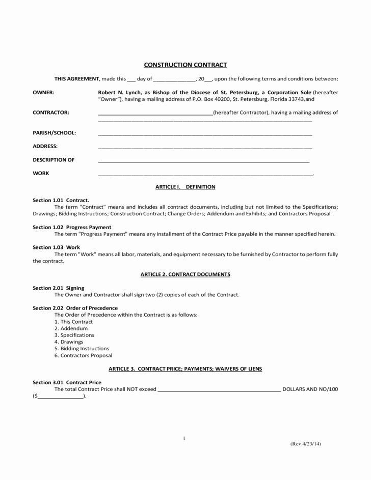 Simple Construction Contract Template Free New Simple Construction Contract Free Download
