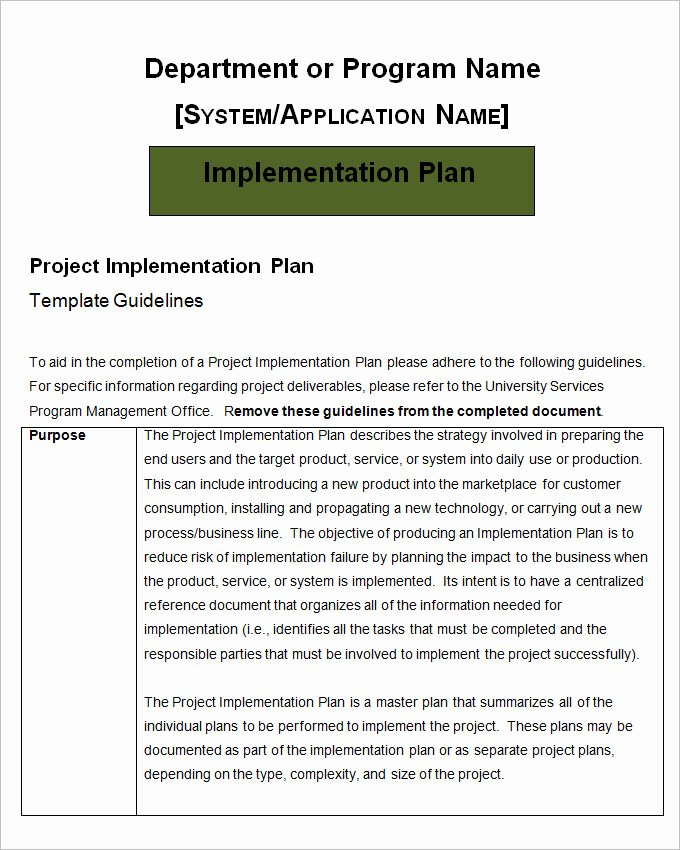 Simple Implementation Plan Template Lovely Project Implementation Plan Template 6 Free Word Excel