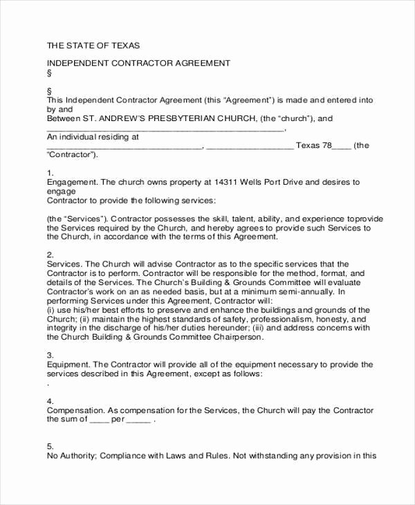 Simple Independent Contractor Agreement Template Awesome Independent Contractor Agreement Texas