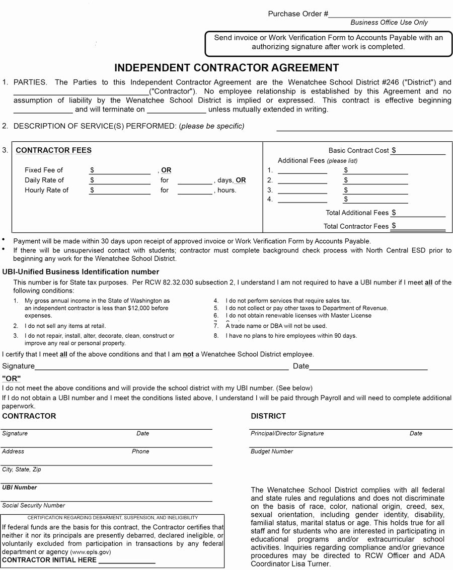 Simple Independent Contractor Agreement Template Beautiful 50 Free Independent Contractor Agreement forms & Templates
