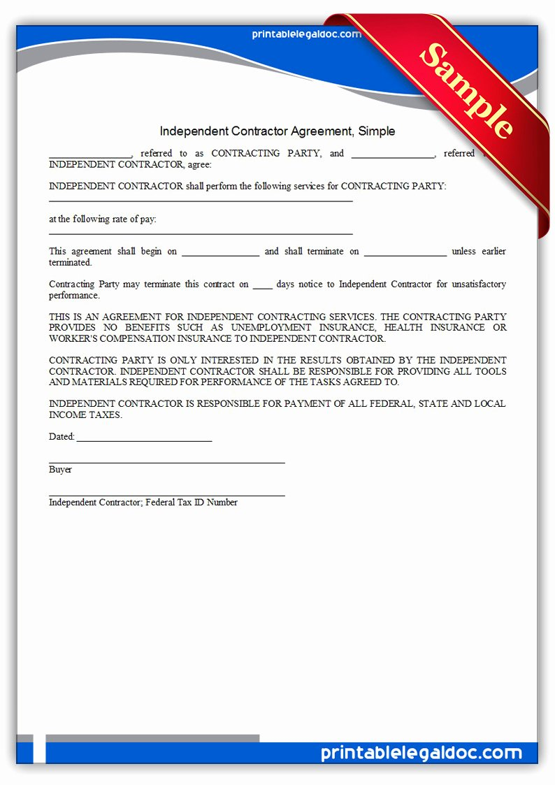 Simple Independent Contractor Agreement Template Beautiful Free Printable Independent Contractor Agreement Simple
