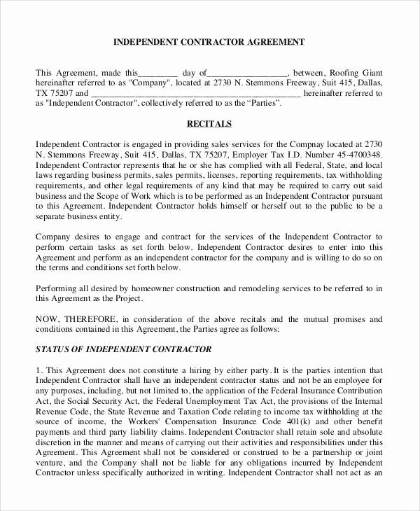 Simple Independent Contractor Agreement Template Fresh Employee Mission Agreement Template – Teplates for