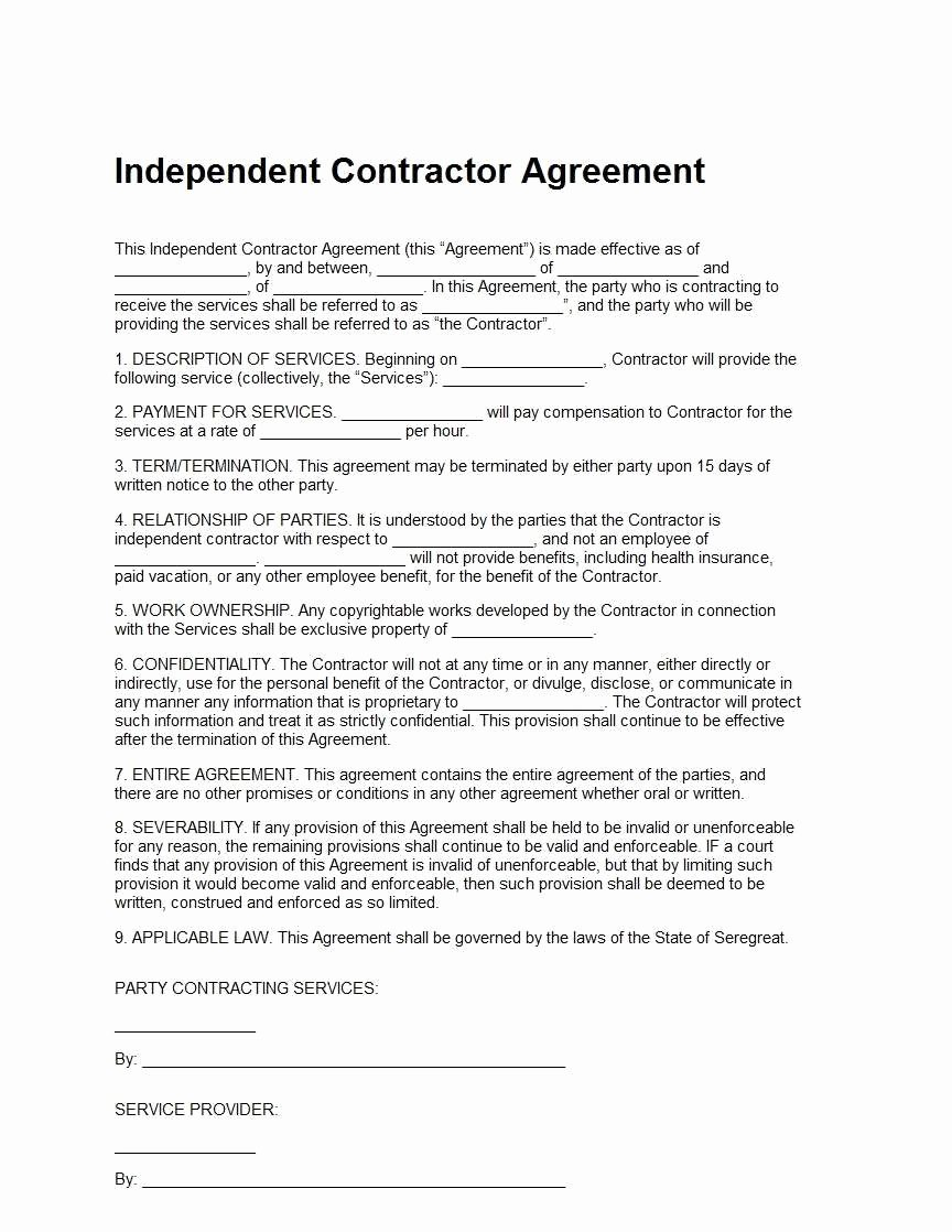 Simple Independent Contractor Agreement Template Inspirational 33 Simple Free Independent Contractor Agreement Pdf Pu