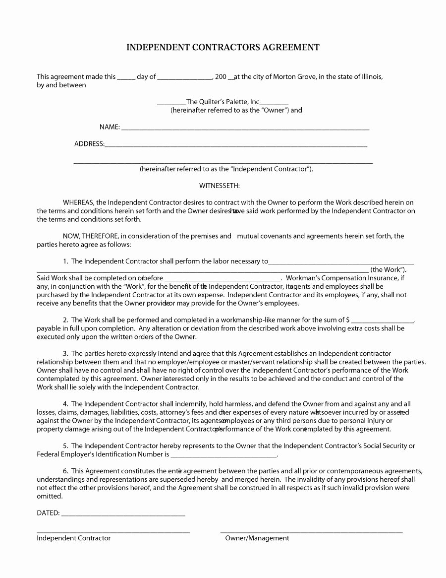 Simple Independent Contractor Agreement Template New 50 Free Independent Contractor Agreement forms & Templates