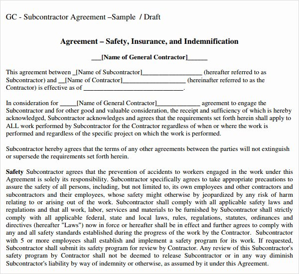 Simple Independent Contractor Agreement Template New Subcontractor Agreement Template